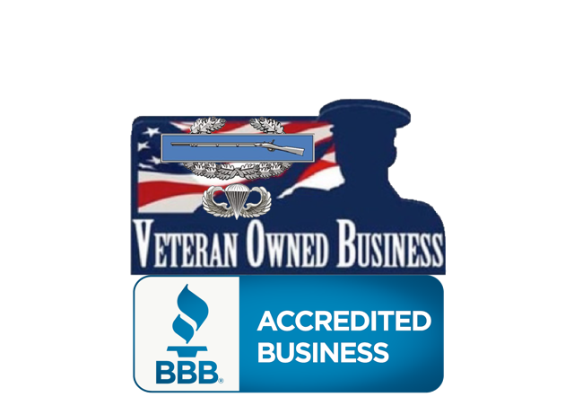 Company Logo with Image of Combat Veteran Owned Buisness BBB Accredited